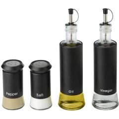 4 delni stekleni set za olje, kis, sol in poper, črna 3940-01