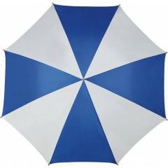 Velik dežnik z dvobarvnimi paneli in lesenim ročajem 130cm, modra-bela 4142-45