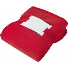 Mehka in topla odeja Sherpa s trakom za sporočilo, rdeča-bela 4290-08