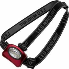 LED svetilka - lučka za na glavo iz aluminija in 5 žarnicami, rdeča 4859-08