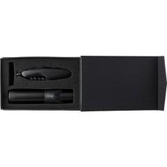 Kovinska svetilka in žepni nožek v darilni škatli, črna-črna 5076-01