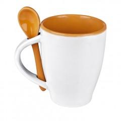Šalica - skodelica za kavo - barvna notranjost z žličko v enaki barvi Palermo, oranžna 509510