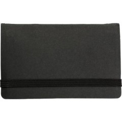 Beležka z listi in memo lističi z žepom in elastiko, črna 5348-01