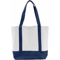 Nakupovalna - plažna torba z dolgimi ročaji in zapiranjem na gumb, modra-bela 5575-05