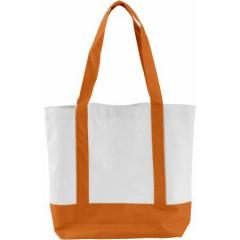 Nakupovalna - plažna torba z dolgimi ročaji in zapiranjem na gumb, oranžna-bela 5575-07