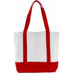 Nakupovalna - plažna torba z dolgimi ročaji in zapiranjem na gumb, rdeča-bela 5575-08
