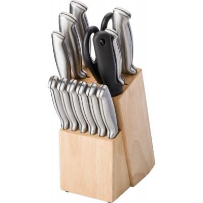 13-delni set nožev iz nerjavečega jekla z brusom v lesenem stojalu, wooden-srebrna 5865-11
