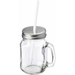 Steklen kozarec z ročajem pokrovom in slamico, transparentna 5964-21