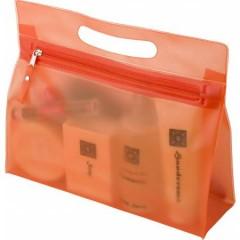 Toaletna - kozmetična torbica v transparentni barvi z zadrgo, oranžna 6447-07