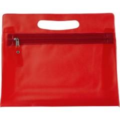 Kozmetična - toaletna torbica v transparentni barvi z zadrgo, rdeča 6447-08
