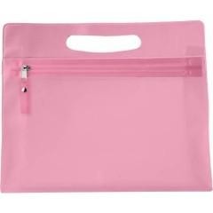 Toaletna - kozmetična torbica v transparentni barvi z zadrgo, roza 6447-17