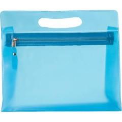 Toaletna - kozmetična torbica v transparentni barvi z zadrgo, modra 6447-18