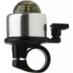 Kolesarski zvonec s kompasom, črna-srebrna 6472-32