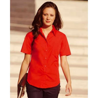 Ženska srajca s kratkimi rokavi - Ladies Poplin Short Sleeve Shirt Fruit of the loom 65-014-0