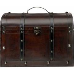Velika lesena skrinja 43x32x32cm, wooden-temno rjava 6698-11
