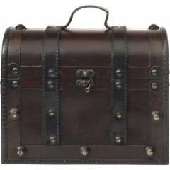 Manjša lesena skrinja - škatla za nakit, ure ali darilo 25,5cm, wooden-temno rjava 6701-11