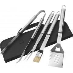 4-delni komplet za peko na žaru v torbi z zadrgo, črna-srebrna 6703-01