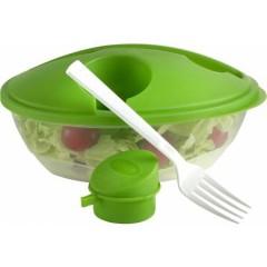 Ovalna posoda za solato s pokrovom, vilico in dozirnikom za olje ali kis, zelena 6728-29