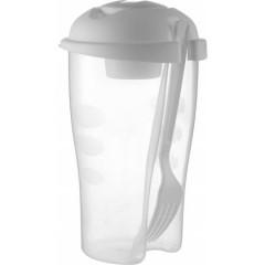 Posoda - shaker za solato z dozirnikom in vilico, bela-transparentna 6731-02