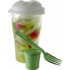 Posoda - shaker za solato z dozirnikom in vilico, zelena-zelena-transparentna 6731-29