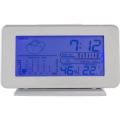 Pisarniška vremenska postaja z modrim ozadjem, siva 6866-32