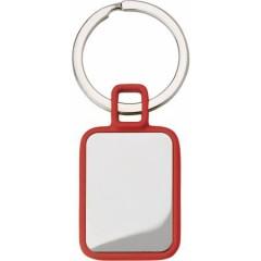 Kovinski pravokotni obesek za ključe, rdeča-srebrna 6983-08