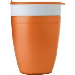 Dvojna skodelica s pokrovom z luknjo za pitje, oranžna-bela 7470-07