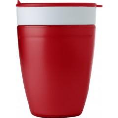 Dvojna skodelica s pokrovom z luknjo za pitje, rdeča-bela 7470-08