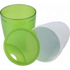 Dvojna skodelica s pokrovom z luknjo za pitje, zelena-bela 7470-19