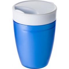 Dvojna skodelica s pokrovom z luknjo za pitje, modra-bela 7470-23
