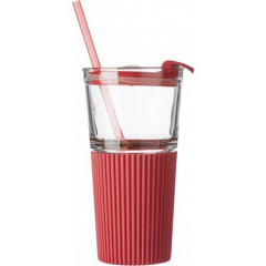 Steklen kozarec pokrovom in slamico 500ml, rdeča-transparentna 7486-08
