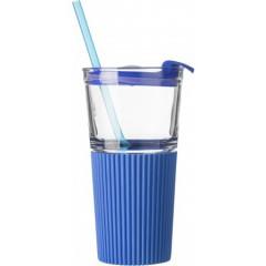 Steklen kozarec pokrovom in slamico 500ml, modra-transparentna 7486-23