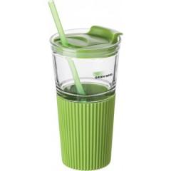 Steklen kozarec pokrovom in slamico 500ml, zelena-transparentna 7486-29