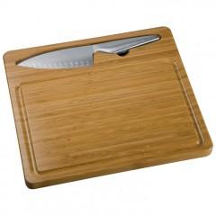 Velika lesena kuhinjska deska za rezanje in kovinski nož Mantova, rjava 763301