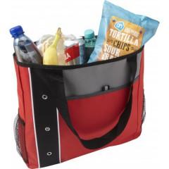 Plažna - nakupovalna torba z dolgimi ročaji in dodatnimi žepi, rdeča-črna 7649-08
