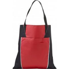 Nakupovalna vrečka z daljšimi ročaji in dodatnim žepom, rdeča-črna 7650-08