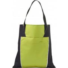 Nakupovalna vrečka z daljšimi ročaji in dodatnim žepom, zelena-črna 7650-19