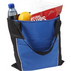 Nakupovalna vrečka z daljšimi ročaji in dodatnim žepom, modra-črna 7650-23