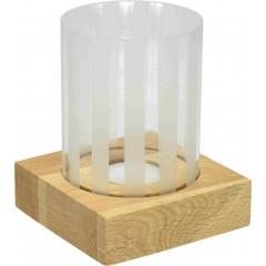 Steklen svečnik na lesenem podstavku 771284