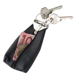 Usnjena denarnica z zadrgo in obeskom za ključe Italy, črna 771903
