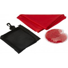 Set za tek - grelec in športna brisača v etuiju, rdeča 7723-08