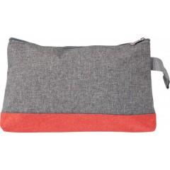 Toaletna torba z zadrgo Poly canvas, rdeča-siva 7727-08
