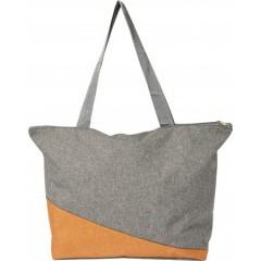 Plažna ali nakupovalna torba Poly canvas, oranžna-siva 7728-07