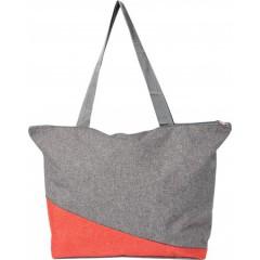 Plažna ali nakupovalna torba Poly canvas, rdeča-siva 7728-08