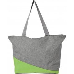 Plažna ali nakupovalna torba Poly canvas, svetlo zelena-siva 7728-19