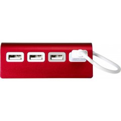 Kovinski USB hub s 4-imi USB izhodi, rdeča 7737-08
