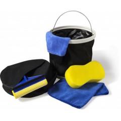 Komplet za pranje avtomobila z zložljivim vedrom in torbo, rumena-črna 7836-01