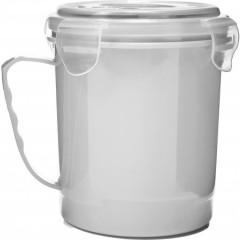 Plastična posoda s pokrovom 720ml Microwave, bela 7837-02