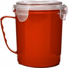 Plastična posoda s pokrovom 720ml Microwave, rdeča 7837-08