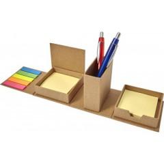EKO namizni organizator z memo lističi - zloži se v kocko Cube design, svetlo rjava 7866-11